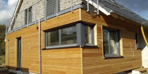 Holzfassade Doppelrhombus